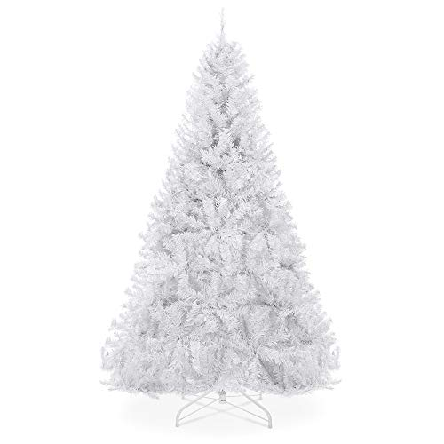 Best Choice Products 6ft Premium Hinged Artificial Holiday Christmas Pine Tree for Home, Office, Party Decoration w/ 1,000 Branch Tips, Easy Assembly, Metal Hinges & Foldable Base - White