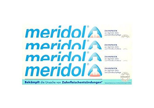 4x meridol Zahnfleischschutz Zahnpasta 75ml Zahncreme, Weisse Zähne