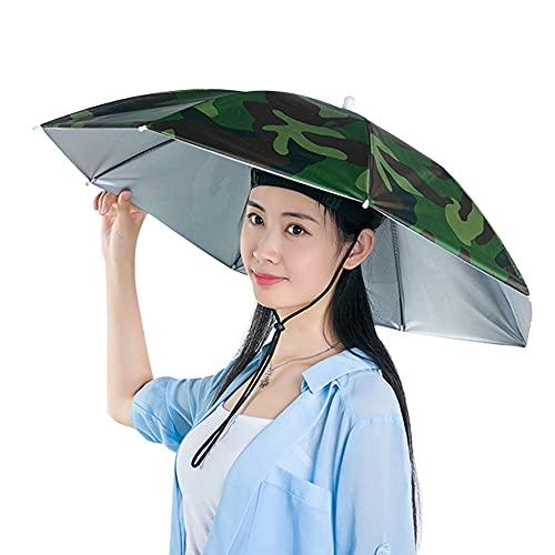 Mabor Sombrero, paraguas de pesca con manos libres, paraguas plegable con protección UV, cabeza ajustable, para pesca, golf, camping, playa, jardinería, sombrilla al aire libre