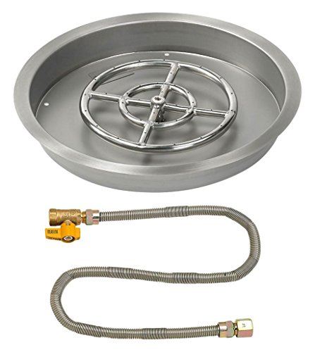 Affordable American Fireglass 19″ Round Stainless Steel Drop-in Pan with Match Light Kit (12″ Fire Pit Ring) Natural Gas