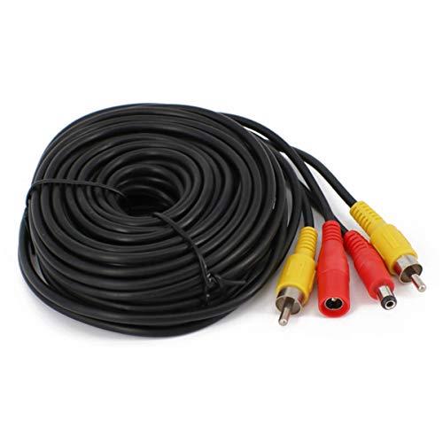 49FT Reserva Cámara Vídeo Extensión Cable para Camión,RCA Cable Estacionamiento 2-en-1 Vídeo Cable para CCTV Seguridad Monitor,Camión Autobús Tráiler Inverso Estacionamiento Cámara(15 Metros)