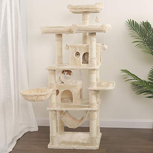 WLIVE Kratzbaum für große Katzen, 170 H x 60 B x 50 T cm, Katzenkratzbaum, Kletterbaum mit Sisal-Kratzstangen, Hängematte, Plüsch-Sitzmulden, einem Korb und 2 Spielhäuser, Beige