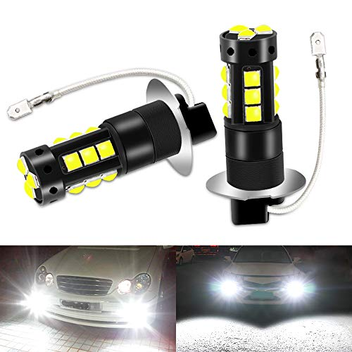 CIIHON H3 LED Fog Light Bulbs, 6000K White Super Bright 80W 4000LM Led Bulbs, 360°Beam Waterproof 3030SMD Auto Car Vehicle DRL Driving Fog Lights Bulbs Lamps Replacement