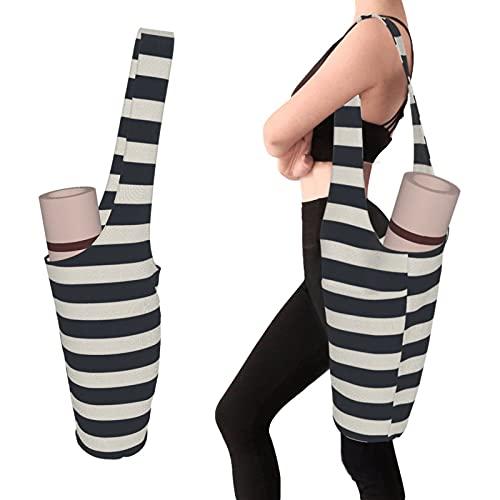 Teery-YY Bolsa para esterilla de yoga, elegante y práctica, se adapta a la mayoría de esteras de tamaño, soporte de accesorios de yoga para mujeres y hombres con bolsillo lateral grande