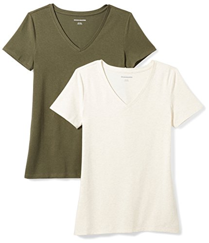 Amazon Essentials Women's 2-Pack Classic-Fit Short-Sleeve V-Neck T-Shirt, Olive/Oatmeal Heather, Small