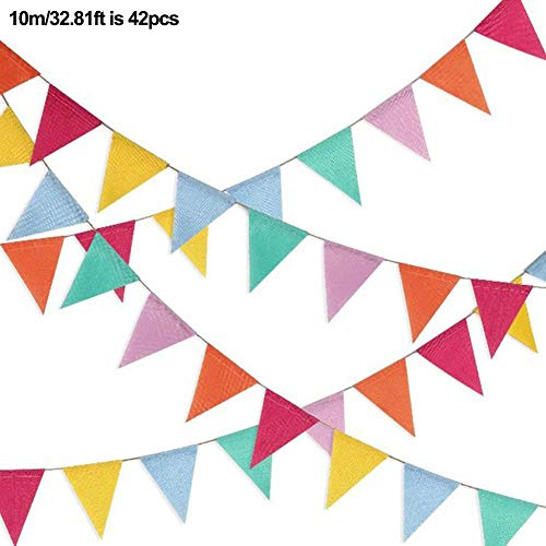 Seasons Shop iBaste Colourful Banner Garland 6 Colours Linen Bunting Triangle Flag Bunting Children's Room Decoration for Party European Wedding Attractive