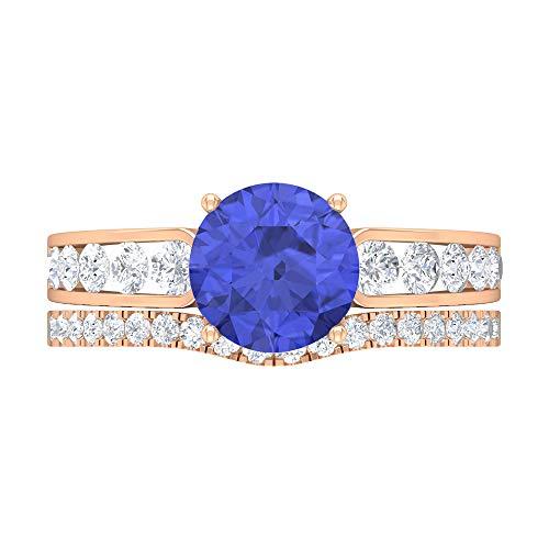 Anillo solitario vintage, piedras preciosas redondas de 2,91 quilates, anillo de oro de moissanita D-VSSI, conjunto de anillos de tanzanita de 8 mm, 14K Oro rosa, Size:EU 51