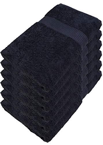 Miamar - Juego de toallas de mano, 15 colores, suave, absorbente, 500 g/m², 100% algodón, certificado Öko Tex, algodón, Negro , 50 x 100 cm