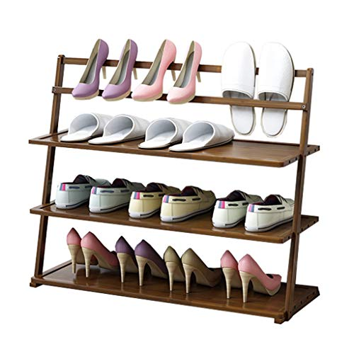 Zapatero Organizador de almacenamiento de estantes de zapatos de múltiples capas de bambú Estante de zapatos de entrada, gabinete de almacenamiento de estantes for el hogar for zapatos Libros y maceta