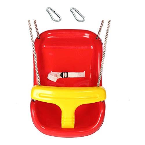 1 Stück h2i Babyschaukel in Rot-Gelb Schaukelsitz Comfort mit Haltegurt und Haltebügel mit Karabiner zum Einhängen