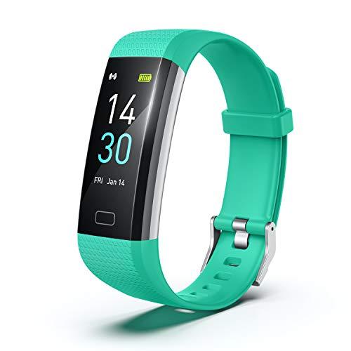Fitness Pulsera de Actividad Reloj Inteligente Impermeable IP68 con Pantalla Color, Pulsera Inteligente Pulsómetro, Cronómetros, Monitor de Sueño Podómetro GPS Reloj Deportivo Mujeres Hombres