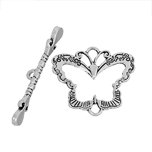 JGFinds Butterfly Bracelet Toggle Clasps - 28 Sets of Silver Tone DIY Jewelry Making Supplies