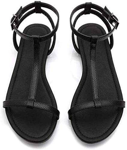 HZYDD HM Sommer Europa und The Flat USA New WoWild Flat Black Snake Slim Streifen T-Shaped Open Toe ShoesBlack, Farbe 39 (Farbe: 39)