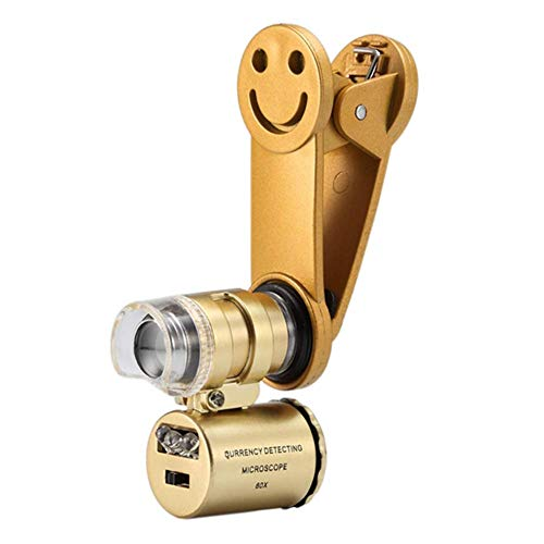 60 x microscoop voor vergroting met led/uv-licht, mini-universele clip, microscoop voor sieraden, vergroting van sieraden, verzamelaars van Monete, Valuta, goud