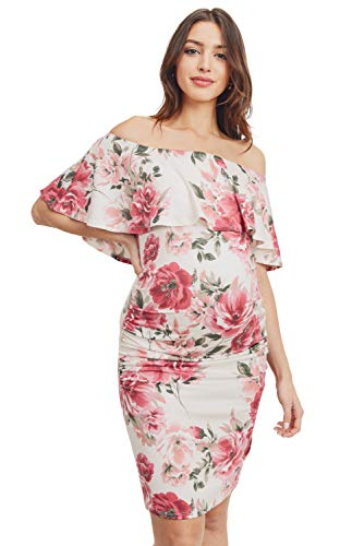 HELLO MIZ Women's Floral Ruffle Off Shoulder Maternity Dress - Made in USA (Small, Ivory Floral)