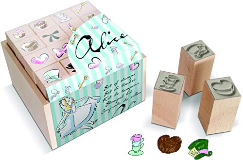 Multiprint Box da 16 Mini Timbri Disney Alice, 100% Made in Italy, Set Timbrini Bimbi, in Legno e Gomma Naturale, Inchiostro Lavabile Atossico, Idea Regalo, Art. 47917