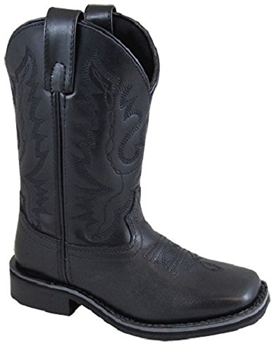 Smoky Mountain CHILDREN'S Kids Size 2 Outlaw Black Leather Square Toe Western Cowboy Boots