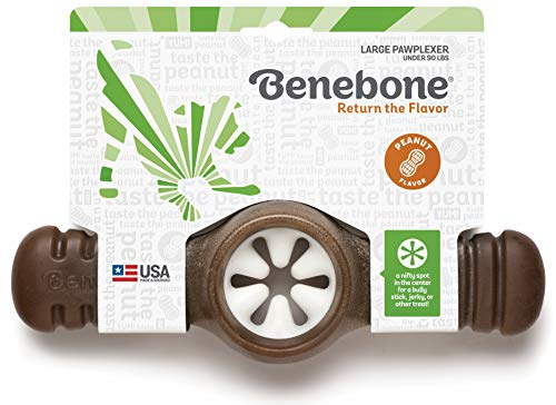 Benebone Pawplexer Interactive Treat Dispensing Tough Dog Puzzle Chew Toy, Made in USA, Large, Real Peanut Flavor