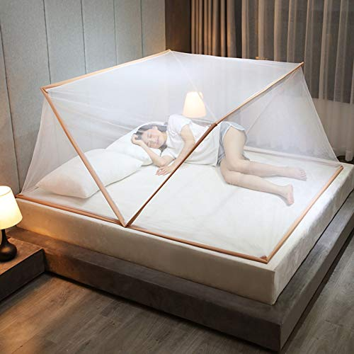 WXHXSRJ Mosquitera Plegable, Cubierta portátil para Mosquitos, fácil Red para Acampar y al Aire Libre, para Cama de Adultos/Cama de bebé/sofá/Campo,Camel,135x190x80cm