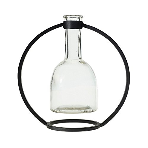 Modern Industrial Style Bud Vase w/ Hanging Glass Beaker - 7.25 x 7.25 Inches - Bunsen Single Stem Round Flower Vase Decor