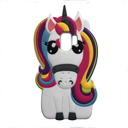 Rainbow Unicorn Samsung Galaxy S9 Case,Awin 3D Cute Cartoon Animal Kids Lovely Rainbow Unicorn Horse Soft Silicone Rubber Case for Samsung Galaxy S9 5.8inch (Rainbow Unicorn)