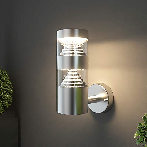 *NBHANYUAN Lighting® Aussenleuchte/Außenlampe LED Wand Lampe Außen für Balkon, Garten Silber Edelstahl 3000K Warmweiß Licht 220-240V 1000LM 9W IP44 (ohne PIR Sensor)*