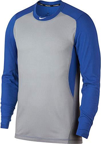 Nike Men's Long Sleeve Baseball Training Jersey Top Baseball Shirt (Wolf Grey/Game Royal/Medium)