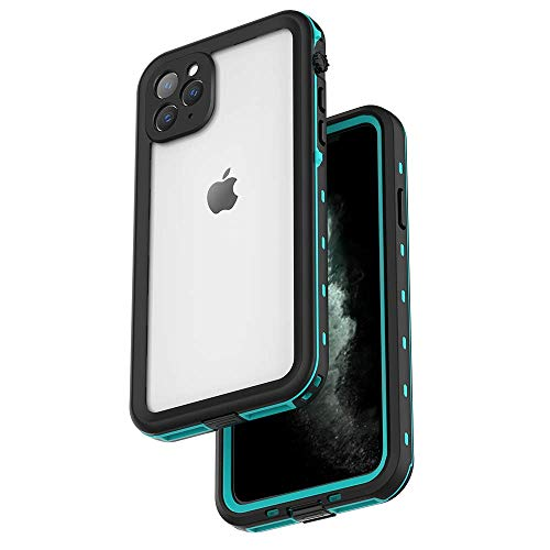 Redpepper Waterproof Case for iPhone 11 Pro Max, Built-in Screen Protector IP69k Certified Snowproof Dustproof Shockproof Heavy Duty Protection Underwater Case for iPhone 11 Pro Max 6.5 (Teal/Clear)
