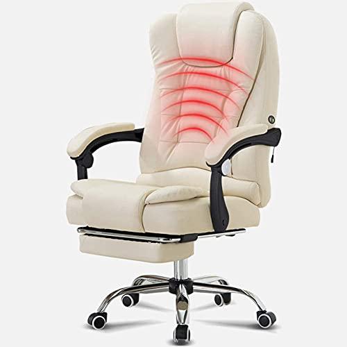 ZIHUAD Sedia, Sedia da Ufficio ergonomica, Sedia Boss per Ufficio Business, Materiale in Pelle PU, con Pedali, Stile Giapponese allargato White