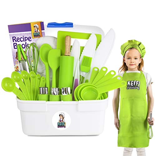 Keff Creations Complete Kids Cooking and Baking Set- Complete Kit with Real Kids Cooking Utensils and Kitchen Accessories Ultimate Culinary Kit for Junior Chef- Girls, Boys and Toddlers.