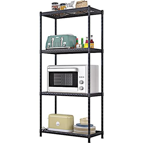 Estantería de almacenamiento para baño, cocina, cocina, con 4 estantes, ajustable, de metal, con patas niveladas, para cocina, garaje, baño