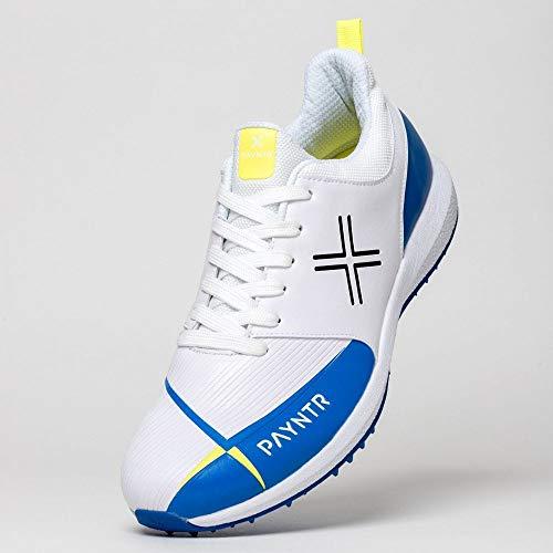 Payntr Zapatos de críquet V Pimple V Unisex, Hombre, Payntr V Pimple - Zapatillas de críquet (Tallas 44), Color Blanco y Azul, Blanco/Azul, 13 UK ⭐