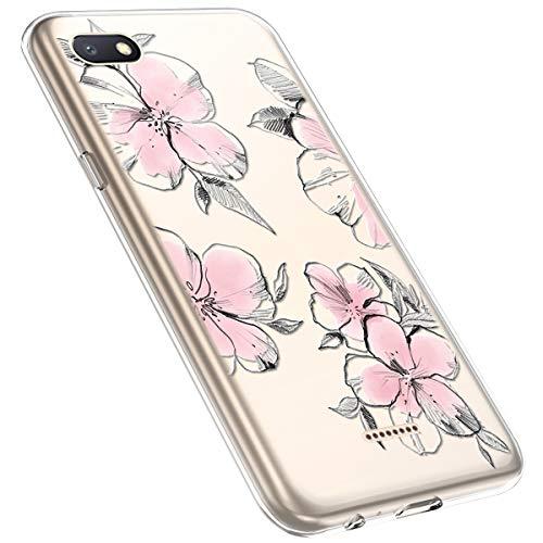 MoreChioce kompatibel mit Xiaomi Redmi 6A Hülle,Redmi 6A Handyhülle Blume,Ultra Dünn Transparent Silikon Schutzhülle Clear Crystal Rückschale Tasche Defender Bumper,Blumenzweig #28