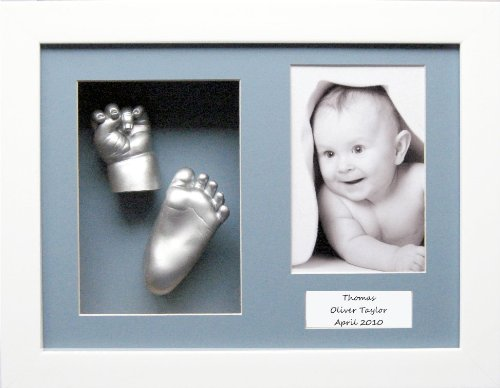 Baby Casting Kit with 11.5x8.5' White Box Display Frame, Blue 3 space mount, Silver paint by BabyRice