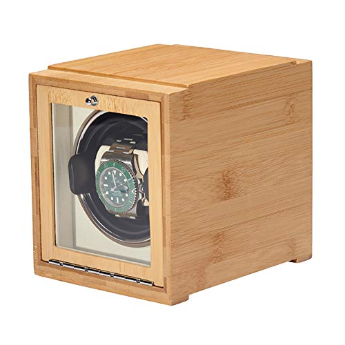 Reloj Winders - Bamboo Watch Shaker Single Watch Winder Watch Mecánica Reloj de bobinado automático Caja de almacenamiento de relojes de doble potencia con puerta Batería disponible ( Color :