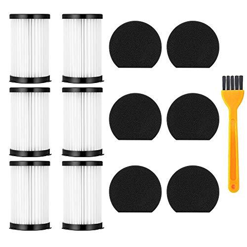 Queta kit de Repuesto de filtro HEPA aspiradora compatible con Handyforce 2761 2759, paquete de 6 filtros + 6 filtros de espuma + 1 cepillo