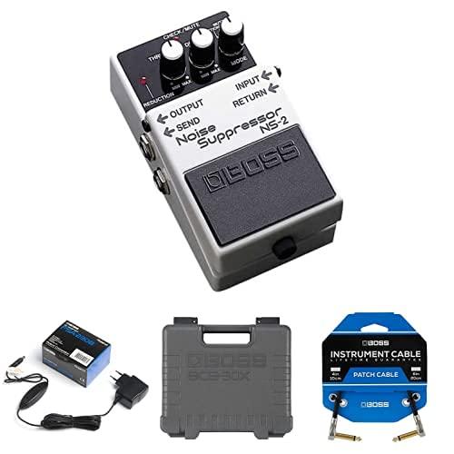 Paquete de pedal BOSS NS-2 Noise Cancelling con adaptador PSA, pedalera de efectos de guitarra ultraportátil BCB-30X y tres cables de conexión de pedal para pedaleras