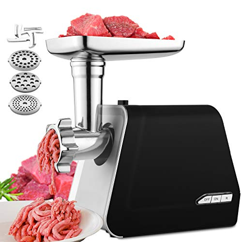 Electric Meat Grinder, 2000W Max Stainless Steel Meat Slicer & Sausage Stuffer with 3 Grinding Plates, Sausage & Kubbe Kit for Home Kitchen heavy duty, Black