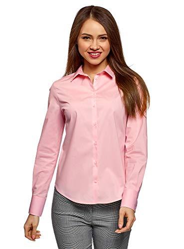 oodji Ultra Mujer Camisa Básica de Algodón, Rosa, ES 40 /