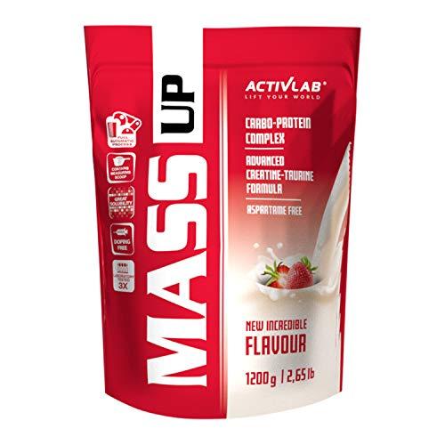 Activlab Mass Up 1200g -Gainer höchster Qualität - Molkeproteinkonzentrat, optimale Zusammensetzung komplexer und einfacher Kohlenhydrat - enthält Kreatin mit Taurin - 10 g Eiweiss pro Portion - Erdbeere