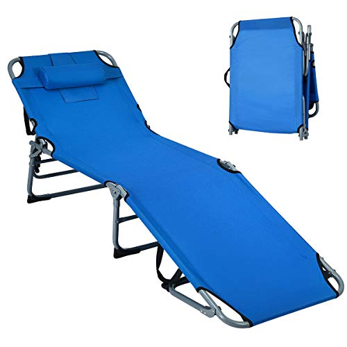 Giantex Outdoor Folding Chaise Lounge Chair, Adjustable Camping Recliner Chair with Pillow, Sunbathing Headrest and Tray, Foldable Beach Bed Cot for Backyard Patio Pool (Blue)