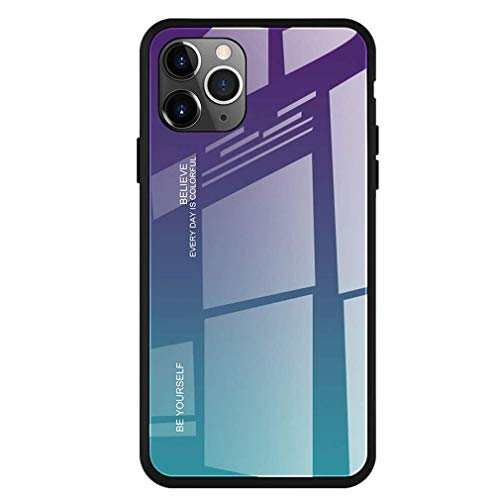 64Gril Compatibel met iPhone 11 2019 hoes silicone telefoonhoes spiegel beschermhoes kristal kleurverloop glazen achterkant + rubberen rand beschermer ultradun krasbestendig telefoonbescherming bumper