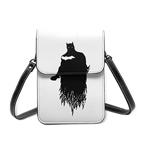 The Bat-Man Crossbody Bag Señoras Niñas Cuero Diseño Pequeño Bolso de Hombro Bolsos de Pulsera Teléfono Celular