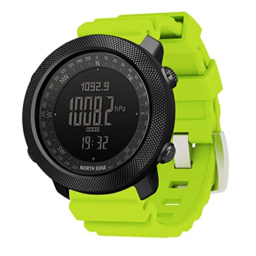 Sports Smart Watch, Fitness Tracker, Military Grade Watch with High Pressure Compass Thermometer Pedometer Calorie Waterproof Outdoor Men's Watches,Green