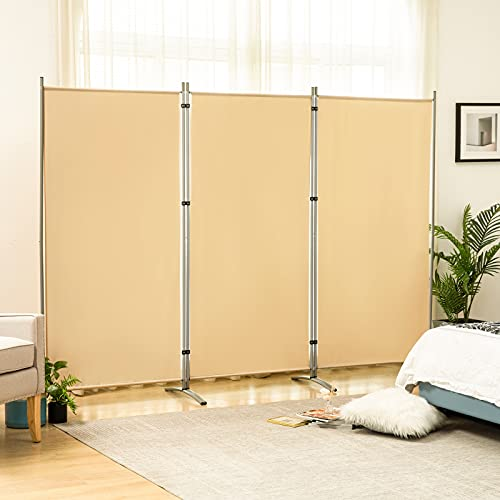 TE DEUM 3 Panel Portable Office Room Divider, 6 Ft Tall Folding Privacy Screen Room Dividers, Freestanding Room Partition Wall Dividers , 102' W X 23' D x 71' H(Beige - Arch)