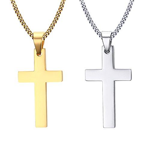 VNOX 2 Pedazos de Acero Inoxidable de los Hombres Simple Simple Cruz Collar Colgante con Cadena Libre,Oro de Plata,Paquete de 2