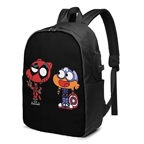 IUBBKI Bolsa para computadora mochila USB The-Am-Azing-World-Of-G-Um-Ball 17 Inch Laptop Backpack For Men & Women,Travel/School Backpack With Usb Charging Port & Headphone Interface