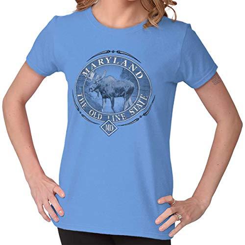 Classic Teaze Maryland Old Line State Mountain Moose MD Ladies T Shirt Carolina Blue
