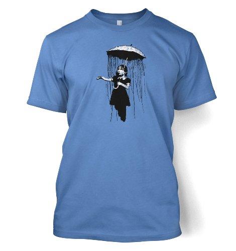 Umbrella Girl Nola Men's Banksy T-shirt (XX-Large (50/52')/Carolina Blue )