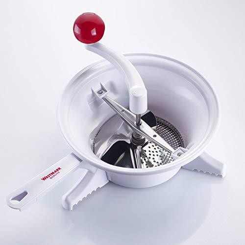 Westmark Moulin à Légumes ou Machine à filtrer, Diamètre (ø) 23 cm, en Plastique de qualité supérieure/Acier inoxydable, Blanc/Rouge, 11962260
